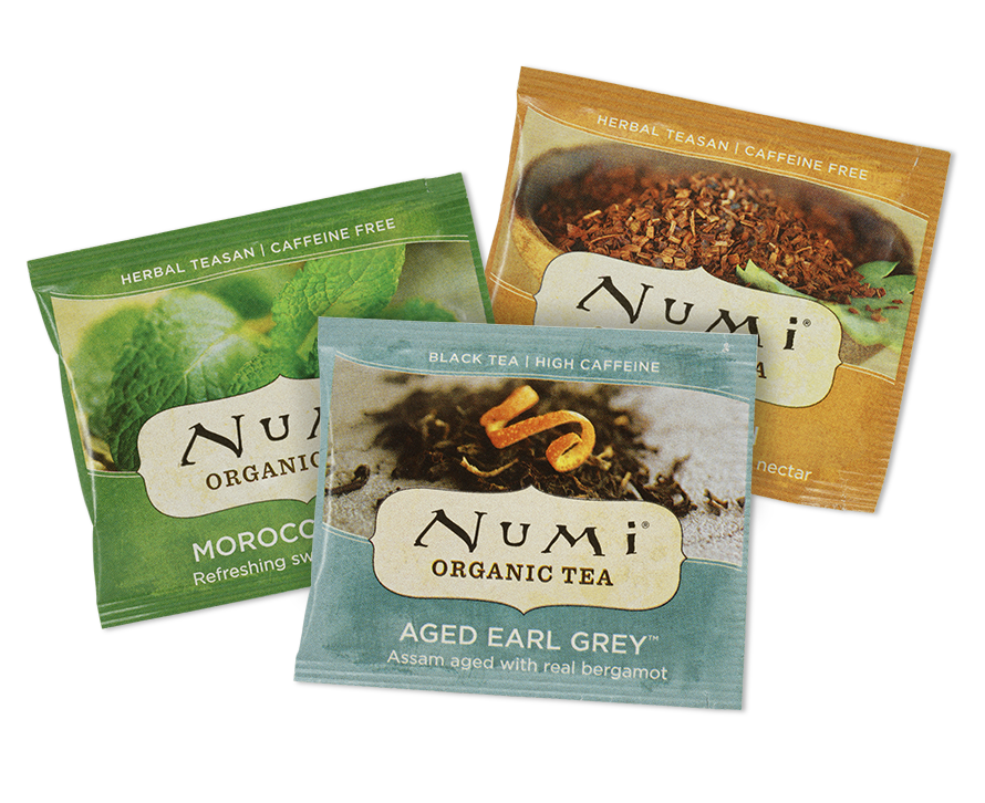 Numi teabags in Sachets